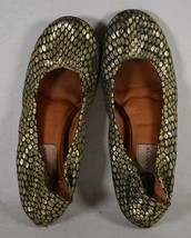 Lanvin Womens Leather Gold Crinkled Ballet Flat Shoes 36 Italy - $148.50