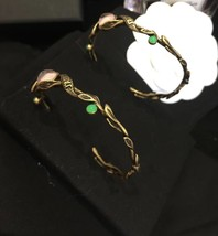 AUTHENTIC Christian Dior 2019 LE PRINTEMPS DE DIOR Enamel Hoop Earrings RARE image 5