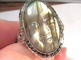 Natural FACE LABRADORITE 925 Silver Ring 9 CARVING BHUDDA - £39.45 GBP