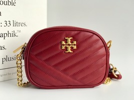 TORY BURCH Kira Chevron Small Camera Crosbody Shoulder Bag Red Authentic - $278.00