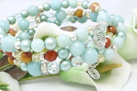 Amazonite carnelian citrine sterling beaded memory wire wrap bracelet  6f2eed31 615866 thumb200