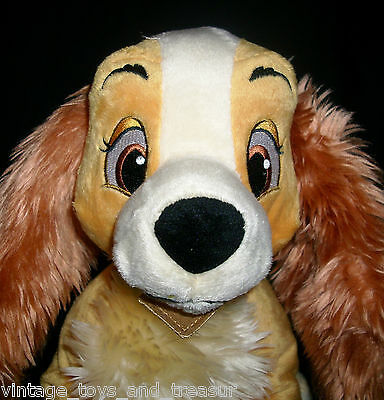 "13"" BIG DISNEY STORE LADY AND THE TRAMP MOVIE STUFFED ANIMAL PLUSH TOY DOG GIRL"
