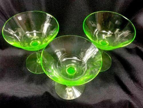 Tiffin Vaseline Glass Champagne Or Sherbet Glasses Ribbed Optic Bowl Lot Of 3