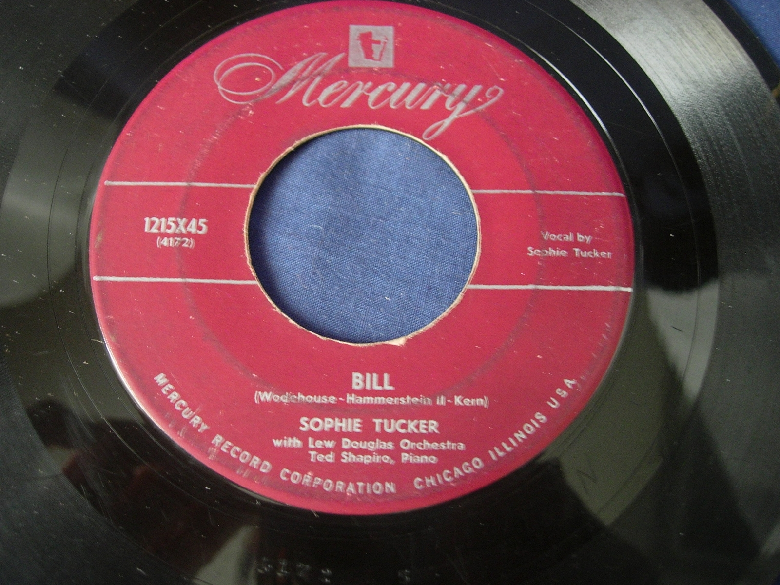 Sophie Tucker - Life Upon the Wicked Stage / Bill - Mercury Records 1215X45