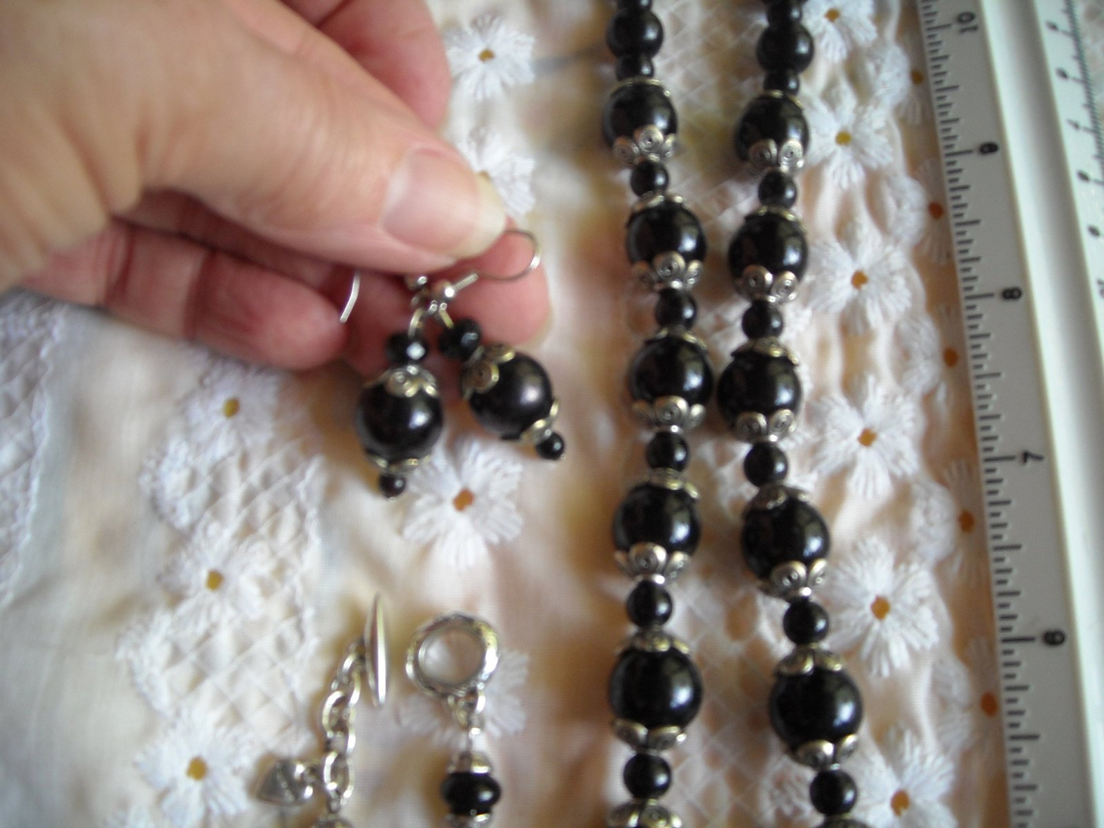 Necklace With Matching Pierced Earrings Black Glazed Polymer Brighten Bracelet image 4