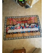 Jesus Last Supper plush tapestry rug wall hanging Italy - $118.79