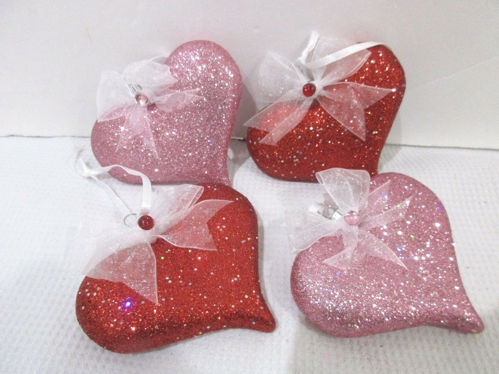 Primary image for Valentines Day Pink Red Glitter Hearts Christmas Ornaments Decorations S/4