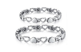 Titanium Heart Design Magnetic Health Bracelet in Silver Pain Relief Art... - $20.12