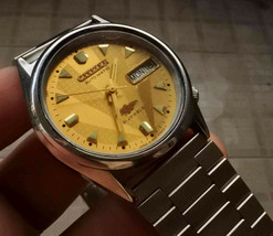 CITI ZEN AUTOMATIC YELLOW DIAL MEN JAPAN STEEL DAY DATE 21 JEWELS VINTAG... - $14.84