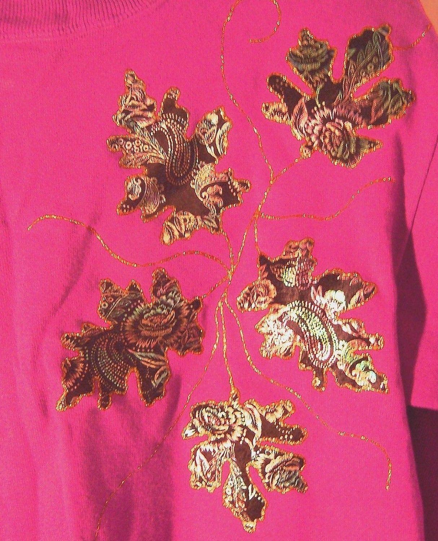 Sz S/M - Hanes Her Way Maroon Decorated Xtra Long Sweatshirt Top