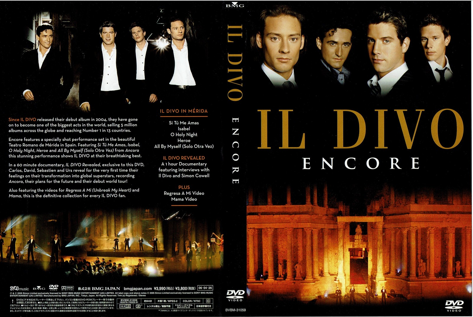 Il Divo - Encore, Music Video Concert, DVD, 2006