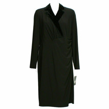 RALPH LAUREN Black Stretch Jersey Velvet Lapel Surplice Sheath Dress 18W - $79.99