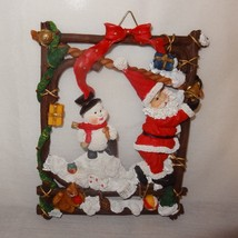 "Christmas Wall Hanging Santa Snowman Squirrel Pine Cone Bells Resin 7"" - $9.99"