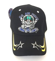 USAF Air Force Baseball Cap Own the Sky Embroidered Skull Adjusts USA Military - $12.99