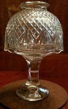"Vintage Crystal Clear Glass Mushroom Fairy Lamp 7"" Sparkle Diamond Flower - $16.82"