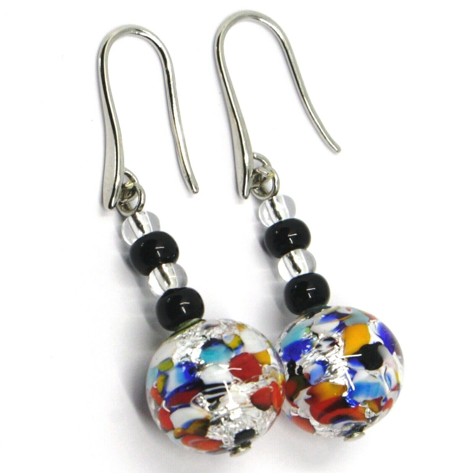 PENDANT EARRINGS MACULATE MULTI COLOR MURANO GLASS SPHERE, SILVER LEAF, ITALY