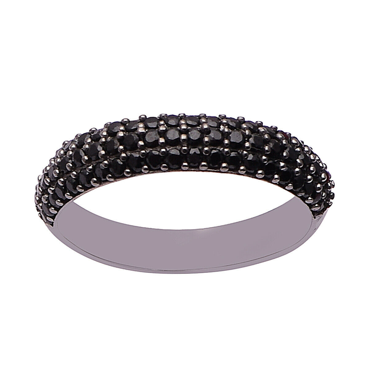 Solid 925 Sterling Silver Black Spinel Round Cut Half Eternity Solitaire Ring