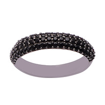 Solid 925 Sterling Silver Black Spinel Round Cut Half Eternity Solitaire... - $4.44