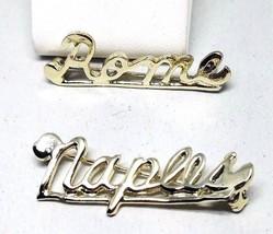 Two Vintage Travel Name Pins NAPLES ROME Souvenir Silver Tone Pins  - $16.73