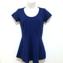 Isaac Mizrahi Live Top Ladies Size XXS Navy Blue Short Sleeve Peplum Sco... - $14.50