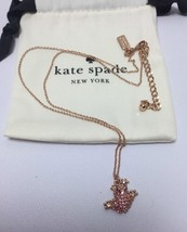 KATE SPADE Swamped Pave Frog Pendant Necklace Rose Gold Plated New - $34.99