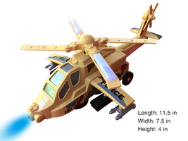 Electric Military Army Helicopter Craft Airplane Toy, Bump and Go Action - $24.99