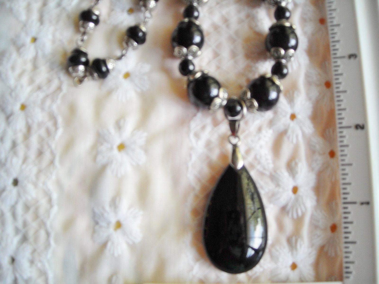 Necklace With Matching Pierced Earrings Black Glazed Polymer Brighten Bracelet image 2