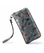 LOVESHE Women wallet ReliefFlower SkyColor Bohemian wristlet Clutch wallets - $493,96 MXN