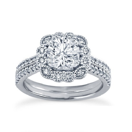 Primary image for White Gold Plated 925 Silver Round Cut Sim Diamond Flower Shape Engagement Ring