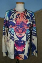 iSwag Unisex Multi-Color Long Sleeve Tiger Face Tie-Dye Pullover XL - $20.45