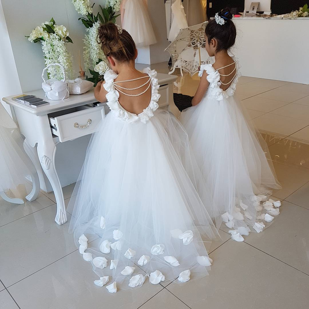 Primary image for White Wedding Flower Girls Dresses Cute Tull Kids Gowns 2018 Pearls Child Dress