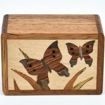 Northwoods Wooden Parquetry Country Garden Butterflies Mini Trinket Box image 2