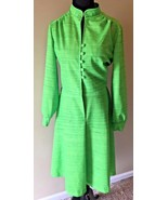 Vtg 1970s Green Polyester Long Sleeve Button Front Dress size M/L Union ... - $24.95