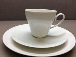 Vintage Rosenthal ROMANCE Teacup Saucer Side Plate Trio All White Emboss... - $49.49