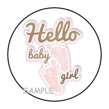 """30 HELLO BABY GIRL SHOWER Stickers Favors Labels round 1.5"""" ENVELOPE SEA... - $4.99"""