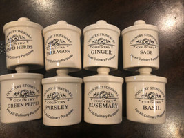 8PC Country Stoneware Culinary Spice Jars w/seals - $34.65