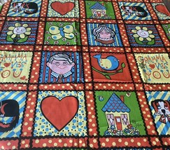 Novelty Fabric Curtain Panel Joyce Miller Gramma Colorful Sears Circa 19... - $34.64