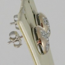 EARRINGS SILVER 925 RUN AND LAMINATED ROSE GOLD WITH ZIRCON CUBIC WHITE image 1