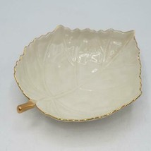 Vintage Lenox Ivory Leaf Candy Dish with Gold Trim made in Japan - $14.84
