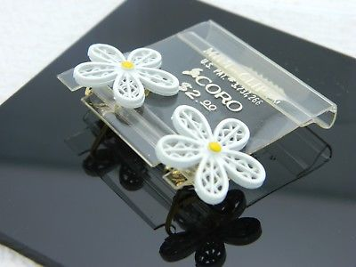Vintage CORO Signed White Yellow Enamel Daisy Flower Clip Earrings