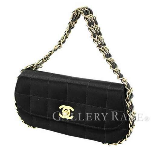 66c8cb71d308 CHANEL Three Strand Chain Bag Choco Bar Black Satin Party Bag Authentic  5224692 -  1