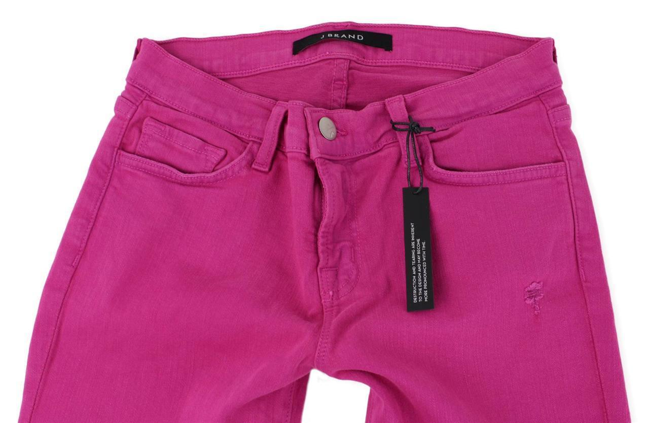 NEW J BRAND WOMEN'S PREMIUM CLASSIC SKINNY DESTROYED MAGENTA JEANS 811C028E