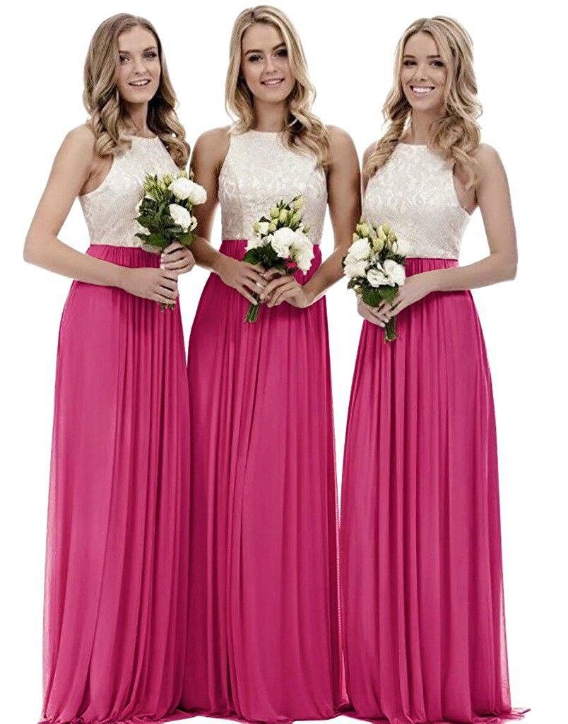 Fuchsia Long Lace Prom Dress Off Shoulder Women Bridesmaid Gowns High Neck 2019