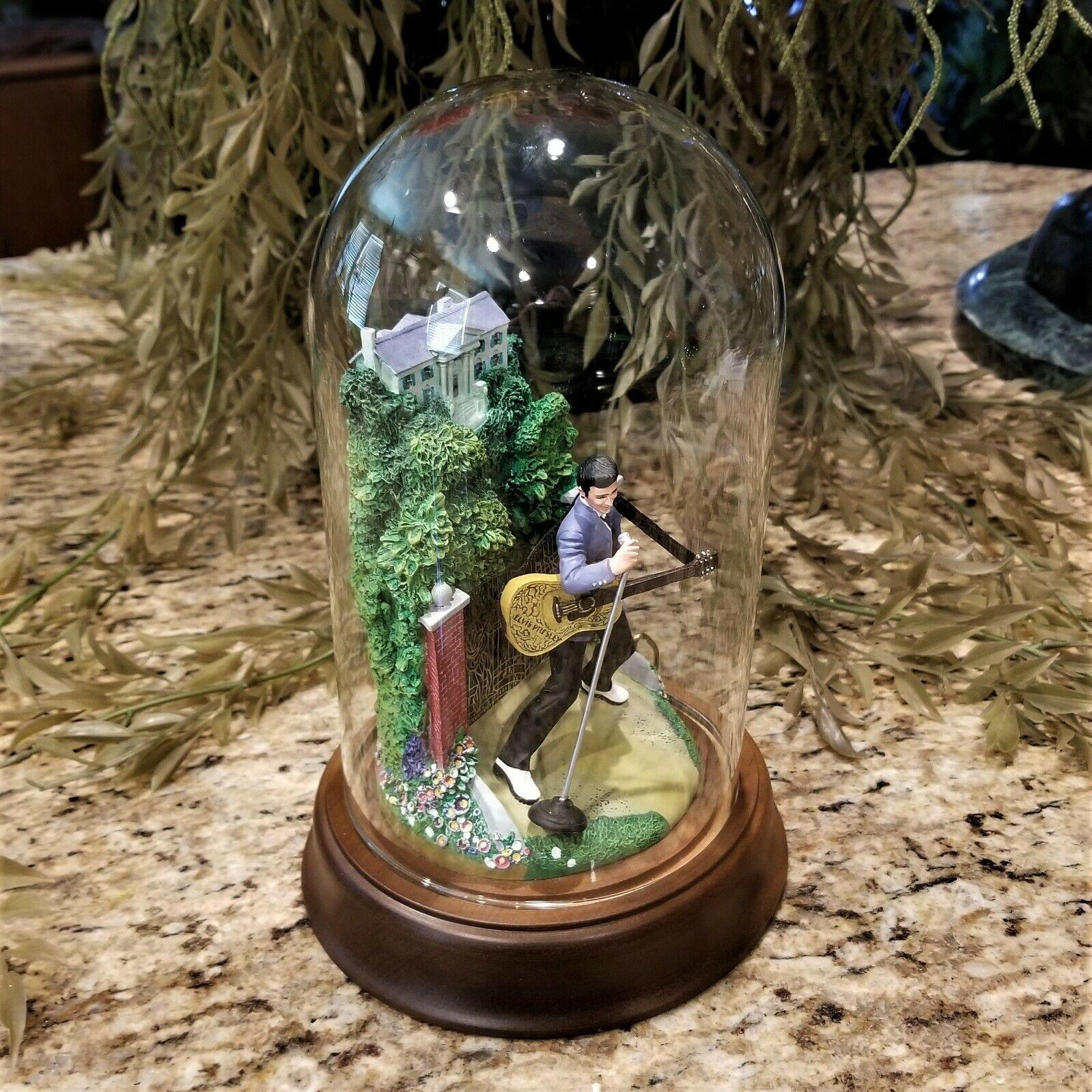 Franklin Mint Elvis Presley Graceland Love Me Tender Music Box Glass Dome Figure image 4
