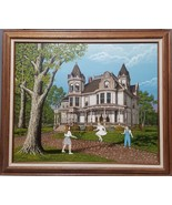 H. Hargrove Canvas Oil Painting  Victorian House with CHILDREN Signed 20... - $197.01