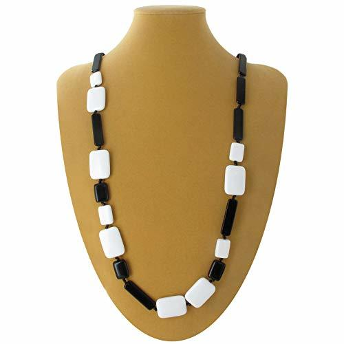 "Necklace Long Black White Lucite Mixed Geometric Square Rectangle Beads 40"" Neck"