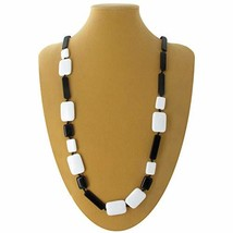 Necklace Long Black White Lucite Mixed Geometric Square Rectangle Beads ... - $35.72