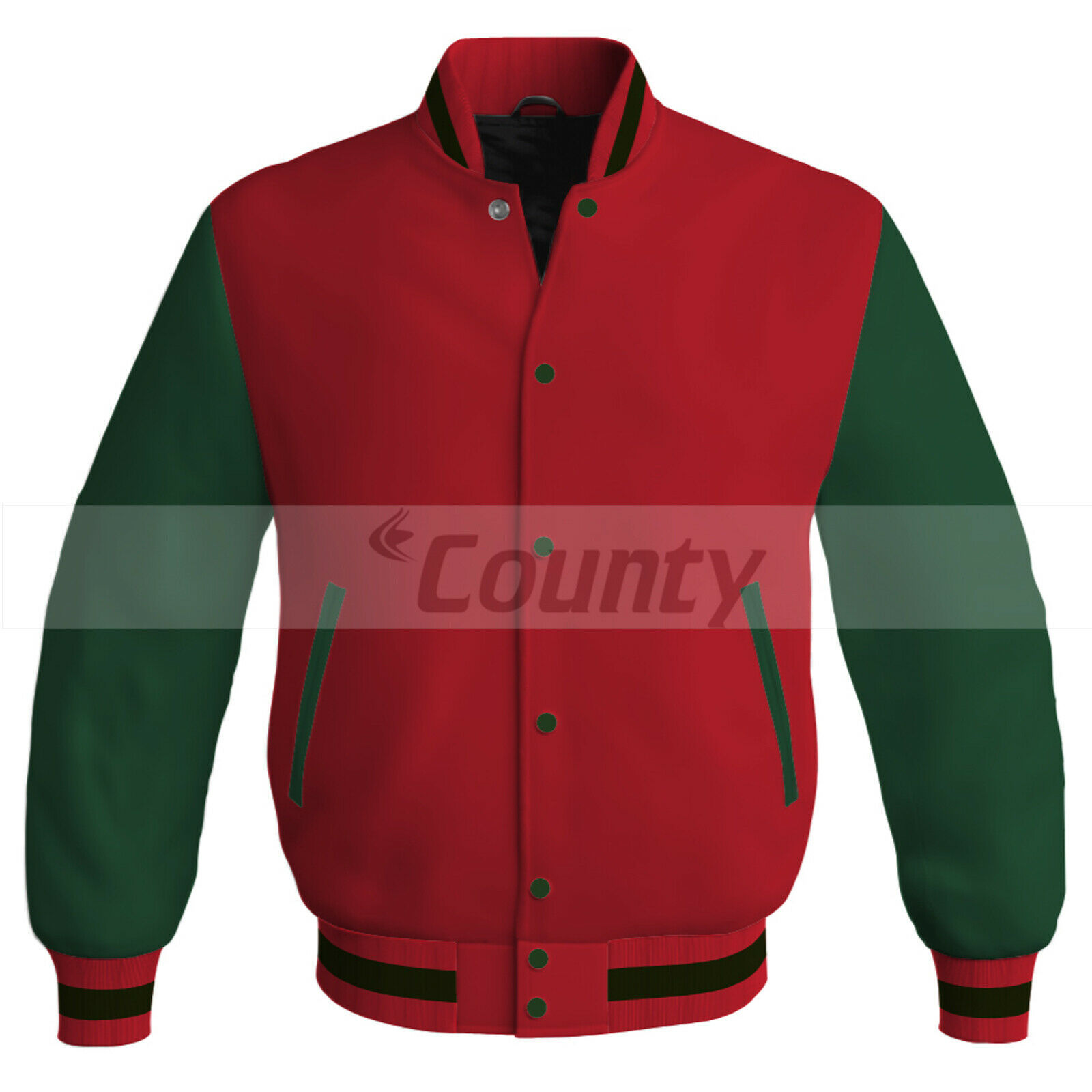 Primary image for New Letterman Baseball College Bomber Super Jacket Sports Red Forest Green Satin