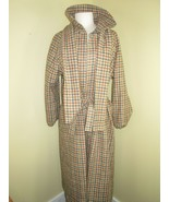 Vintage Homemade Beige Plaid Cape Wool Belted Long Coat Women's Colonial... - $37.04