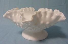 FENTON ART GLASS HOBNAIL CANDLE BOWL  WHITE MILK GLASS PRE LOGO - $19.99
